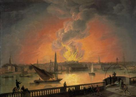 The Burning of Drury Lane Theatre from Westminster Bridge circa 1809