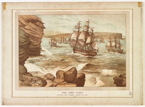 The First Fleet entering Port Jackson, January 26, 1788, drawn 1888.