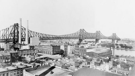 The Queensboro Bridge, linking Manhattan to Long Island City, circa 1908