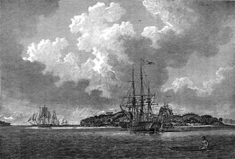 View_of_Botany_Bayengraving of the First Fleet in Botany Bay at voyage's end in 1788