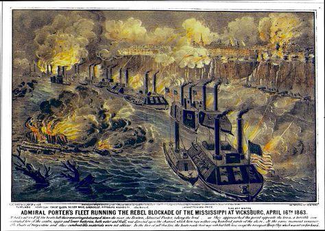 Admiral Porter's Fleet Running the Rebel Blockade of the Mississippi at Vicksburg, April 16th 1863.