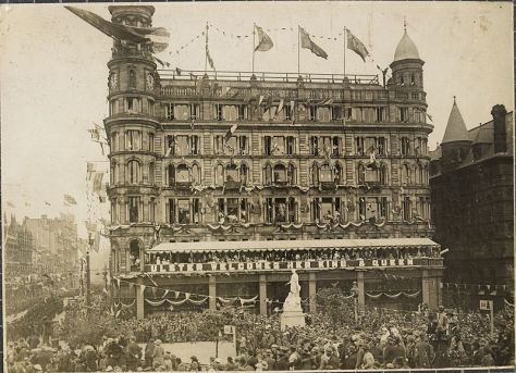Ulster_Welcomes_Her_King_&_Queen_Robinson and Cleaver Department Store in Belfast, decorated for the State Opening of the first Northern Ireland parliament. June 22, 1921.