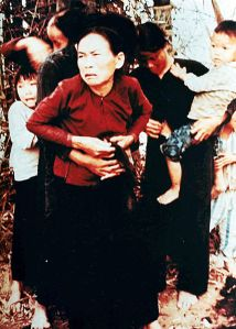 Vietnamese women and children in Mỹ Lai before being killed in the massacre, March 16, 1968.[13] According to court testimony, they were killed seconds after the photo was taken.