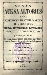 3Imposed by the Russian Empire, Lithuanian language publication was banned from the early 1860s through to the 24th of April, 1904.80px-Auksa_altorius_latin