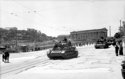 German tanks roll through Athens. 7th June 1943.