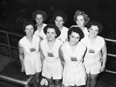 Members of the British team at Earl's Court during the gymnastics events at the 1948 London games.