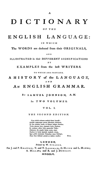 Title page from the second edition of Samuel Johnson's Dictionary 1755