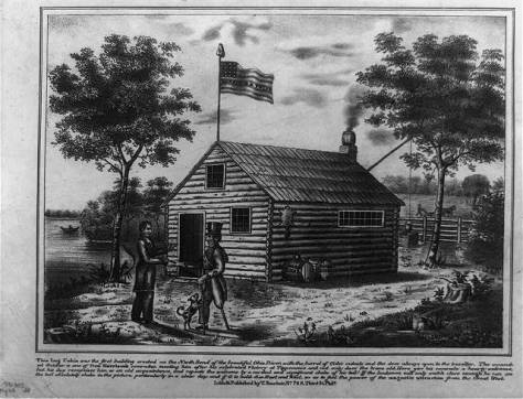 Harrison at cabin on North Bend of Ohio - 1840