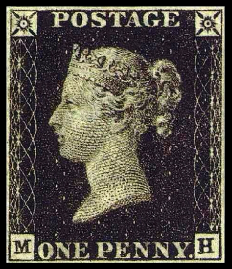The Penny Black was the world's first adhesive postage stamp used in a public postal system. It was issued in Britain on 1 May 1840, for official use from 6 May of that year and features a profile of the Queen Victoria.