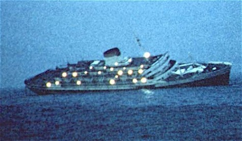 Andrea Doria July 26, 1956. Taken from the Navy transport William H. Thomas.