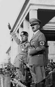 Benito Mussolini and Adolf Hitler Italian Fascist leader Benito Mussolini with Adolf Hitler Hitlermusso2_edit