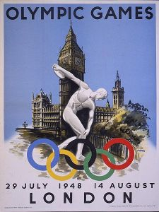 Central Office of Information's copy of the official poster advertising the 1948 London Olympics.