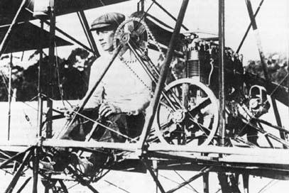 John R. Duigan at the controls of his first powered aircraft
