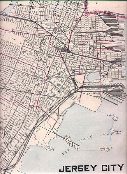 Map of Jersey City, NJ circa 1905 showing location of Black Tom.