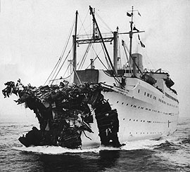 The ''MS Stockholm'' following the collision with the SS ''Andrea Doria'' in 1956.