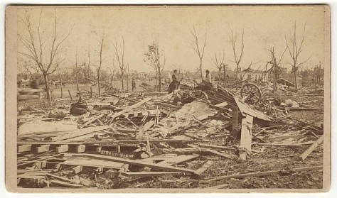 Damage from the Rochester, Minnesota tornado of 1883.