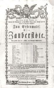 368px-Zauberflöte-Theaterzettel1791The Magic Flute – playbill of the first performance on September 30, 1791 at Schikaneder's Theater auf der Wieden in Vienna.