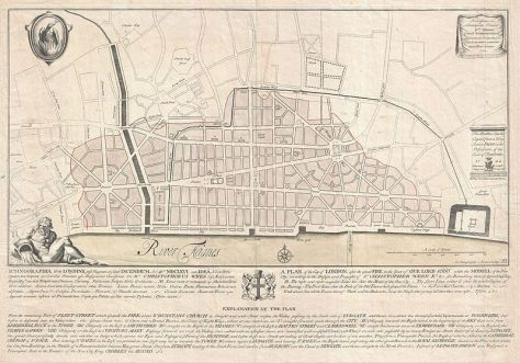 An extremely scarce 1744 map of London showing Sir Christopher Wren's plan for reconstructing the city following the 1666 Great Fire of London.