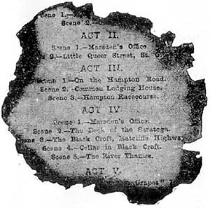 Burnt programme for Romany Rye. Theatre Royal Exeter England. 1887.