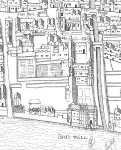 Copperplate_map_Bridewell Bridewell Palace London in the 1550s.