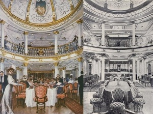 Drawing of the First class dining saloon of the RMS Lusitania (style Louis XVI) Dining Saloon of the RMS Lusitania 1906..