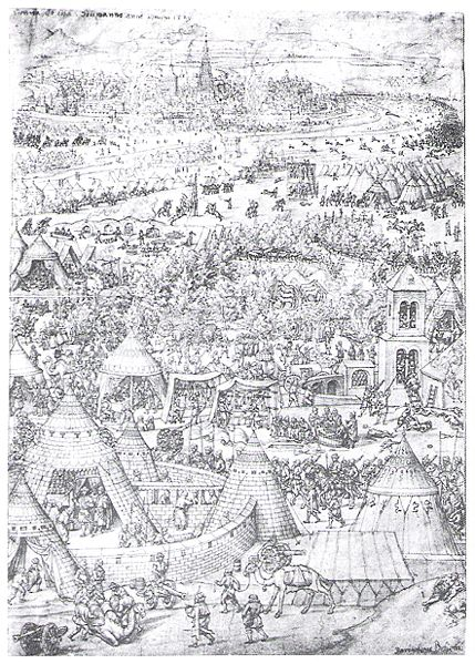 Engraving of clashes between the Austrians and Ottomans outside Vienna, 1529.
