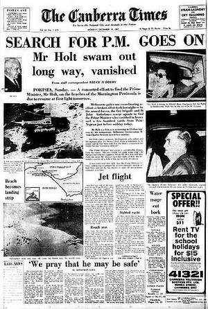 The Canberra Times Harold Holt dappearance 1960s