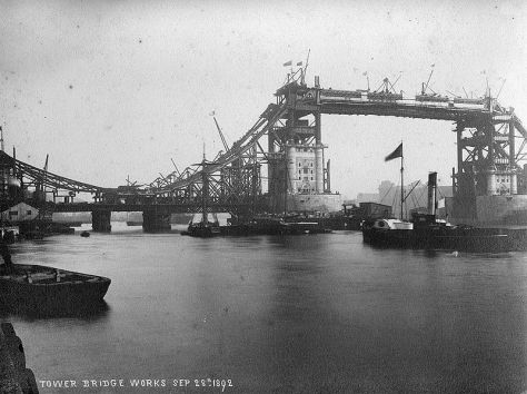View of Tower Bridge construction works, September 28th 1892.