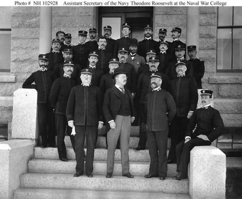 Assistant Secretary of the Navy Theodore Roosevelt with faculty and class members at the Naval War College, Newport, Rhode Island, circa 1897.