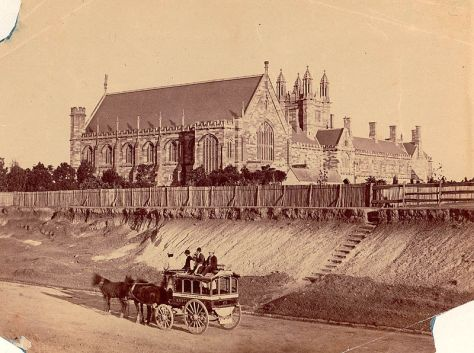Sydney University as viewed from Parramatta Road in the early 1870s.
