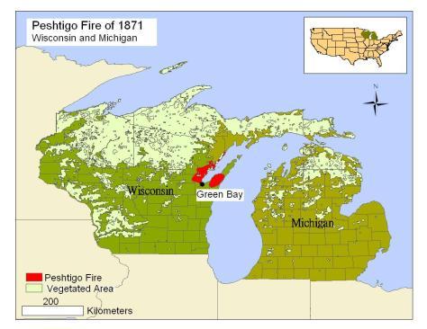 The 1871 Peshtigo Fire in Wisconsin and Michigan