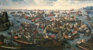 The Battle of Lepanto 7 October 1571 when a fleet of the Holy League, a coalition of European Catholic maritime states, decisively defeated the fleet of the Ottoman Empire on the northern edge of the Gulf of Corinth.