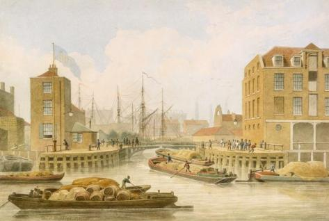 The entrance gates to the Regent's Canal at Limehouse in London, 1823.