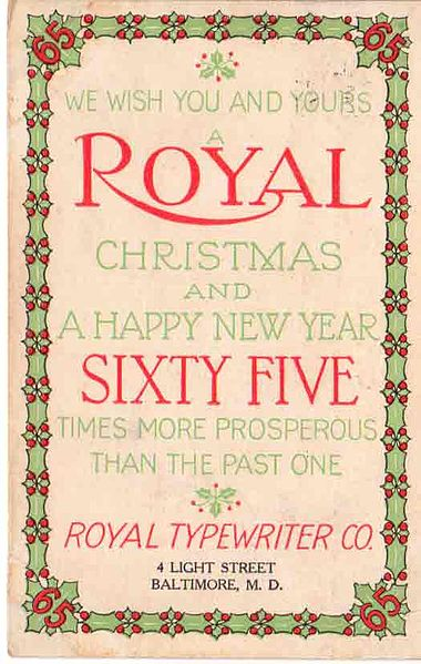 A promotional Christmas card from the Royal Typewriter Company, produced in 1909, from the Virtual Typewriter Museum website.