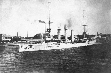 China, Tsingtau S.M.S.Emden im Hafen. Frühjahr 1914.