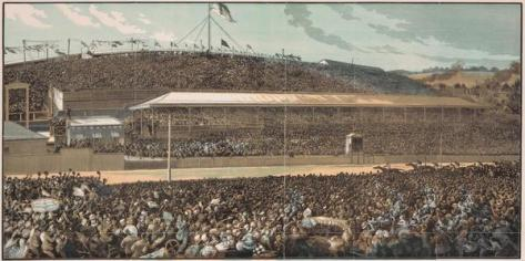 Engraving of the finish line at the Melbourne Cup of 1881. Made by S.B. published in the Illustrated Australian News in November 1881.