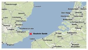 Map showing the location of the Goodwin Sands