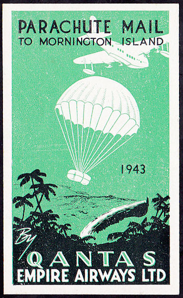 Qantas history a vignette for attaching to mail on the Christmas mail drop to the Mornington Island Mission in 1943.