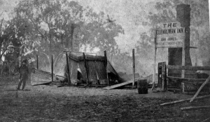 Shows the burnt remains of the Jones's Hotel, the scene of the final confrontation between Ned Kelly and the Victorian Police. A sign still stands The Glenrowan Inn, Ann Jones, best accommodation. 1880.