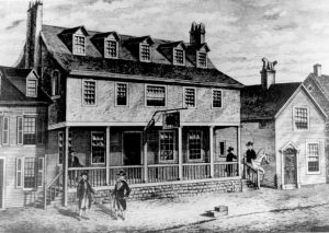 Sketch of Tun Tavern in the Revolutionary War, birthplace of the Continental Marines, from which is descended the USMC.