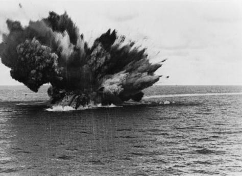The British Royal Navy battleship HMS Barham (04) explodes as her 15 inch magazine ignites.
