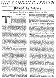 The London Gazette later reprint of the front page from 3–10 September 1666, reporting on the Great Fire of London.
