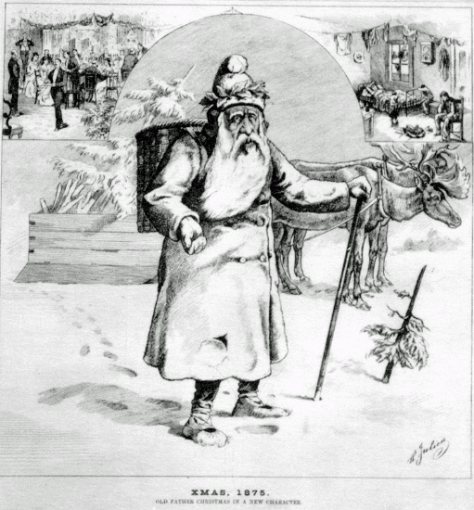 This image of Father Christmas, or Pere Noel, appeared in the Canadian Illustrated News in 1875.