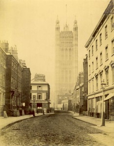 Victoria Tower, Palace of Westminster, c.1870.