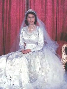 Wedding dress of Wedding dress of Elizabeth II. Photo taken on her wedding day, 20 November 1947.