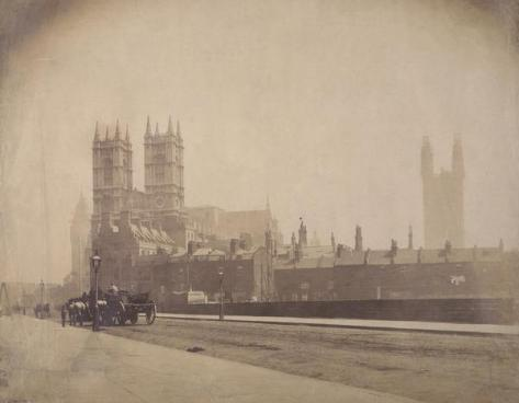 Westminster Abbey, and the Palace of Westminster under construction, London, c1857.