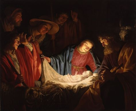 Adoration of the Shepherds, a 1622 painting of the Nativity by Dutch artist Gerard van Honthorst.