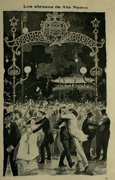 Caricatura de Los abrazos de año nuevo - Santiago 1910