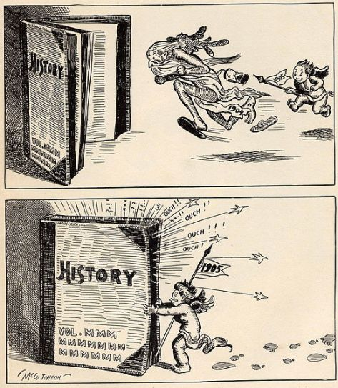 Cartoon showing baby representing New Year 1905 chasing old man 1904 into history.