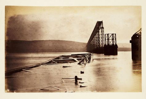 Photograph of fallen girders after collapse of part of the first Tay Bridge. 1879 or 1880.